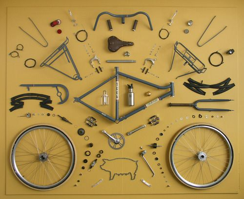 Bicycle. Not sure where the pig goes, but I'm pretty good with the rest.