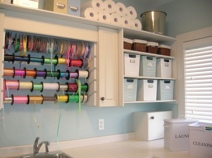 Craft roomDecor Crafts, Ribbons Storage, Crafts Room, Laundry Area, Room Ideas, Storage Ideas, Craft Rooms, Gift Wraps Stations, Laundry Room