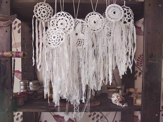 Bohemian wedding decoration/wedding favors; white laces multiple dreamcatchers set  Made of cotton crochet doiylies, lace, cotton fabric stripes, gems and beads  Assorted s... #dreamcatcher