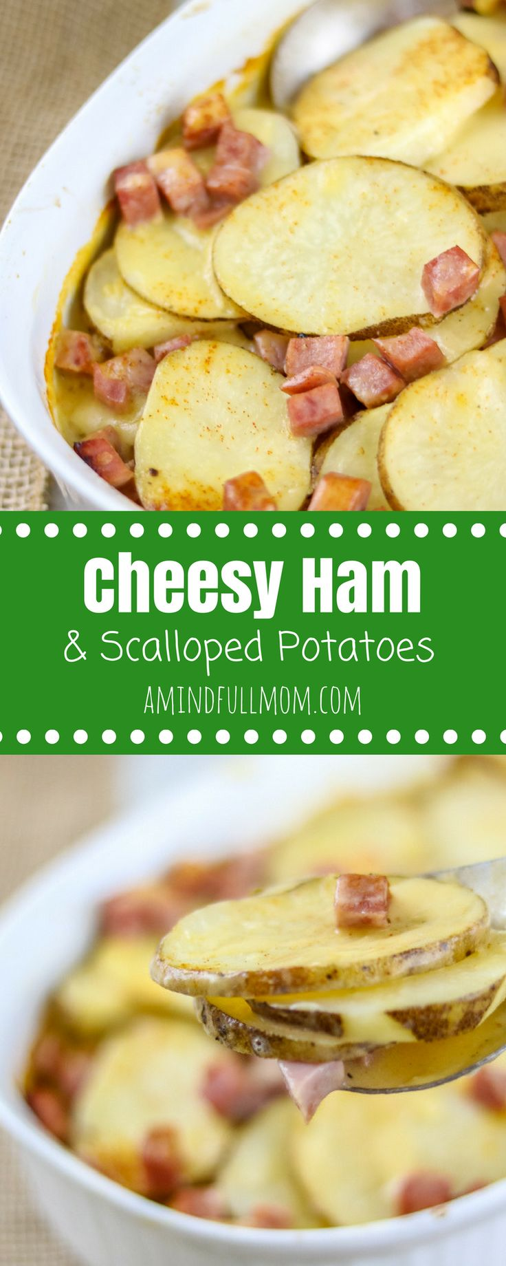 Cheesy Ham and Scalloped Potatoes: A rustic dish madew ith sliced potatoes, leftover ham and a homemade cheese sauce.