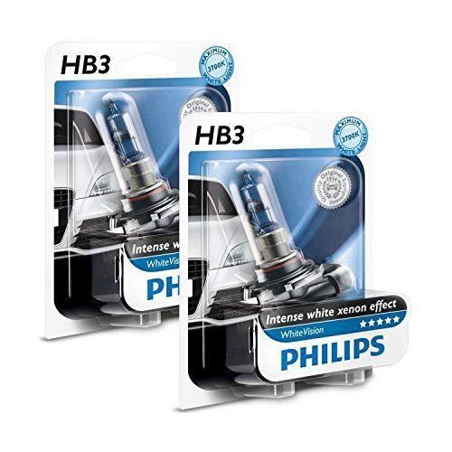 Ampoules HB3 Philips White Vision: Ampoules Philips White Vision HB3 pour feux phares voiture auto moto permettant d'avoir un éclairage…