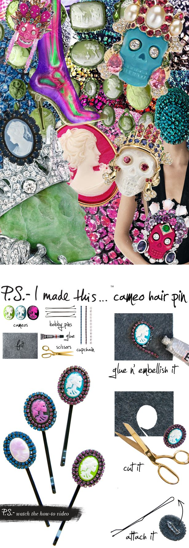 DIY Cameo Hair Pins from psimadethis.com. Gorgeous. #diyaccessories #hairideas