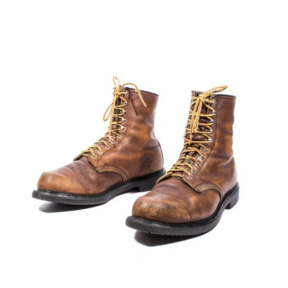Men's Vintage Red Wings Boots Soft Toe Work Boots Insulated Boots Size 13 D