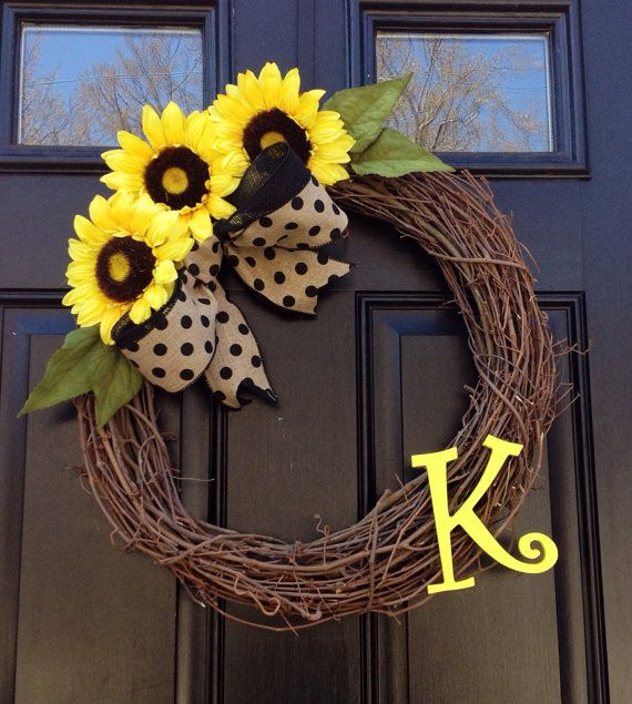 Sunflower Wreath- Monogrammed Wreath- Summer Wreath- Yellow Flowers- Wreath- Housewares- Front Door Wreath on Etsy, $48.00