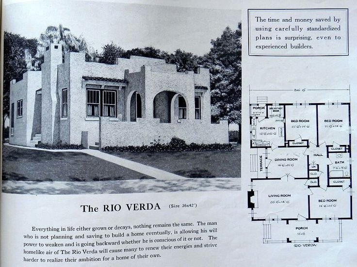 """1926 Standard Home Plans """"Rio Verda"""" ~A squarish 3 bedroom, 1 bath bungalow floor plan wrapped in stucco with flat roof reminiscent of a southwestern mission for a Spanish flavor, and with an open style front veranda and very small side porch off the dining room."""