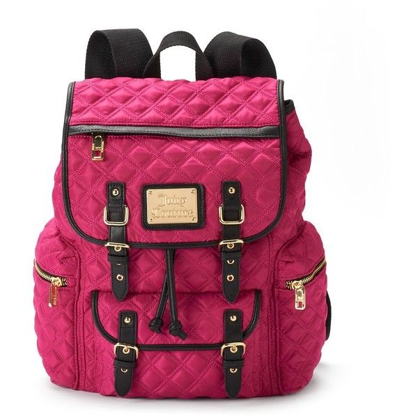 Juicy Couture Lacey Quilted Backpack (Pink) ($50) ❤ liked on Polyvore featuring bags, backpacks, pink, quilted backpack, print backpacks, pink backpack, juicy couture bags and zip bags
