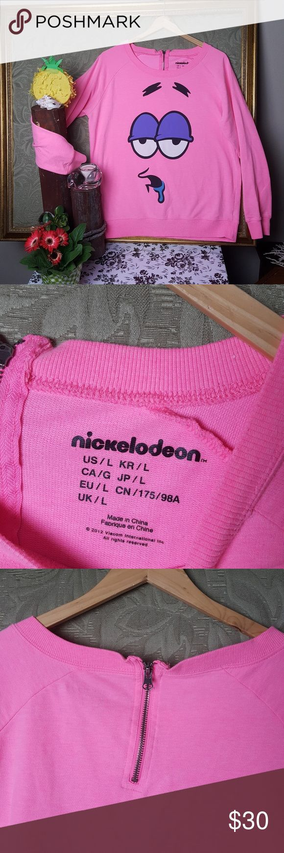 Pink Sweatshirt of Patrick from Spongebob L Patrick is the best! This sweatshirt says it all! Drooling at all :-) in excellent used condition size large. Nickelodeon Tops Sweatshirts & Hoodies