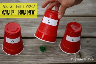 Fun way to help kids learn the names of letters. Great game for sight words and numbers too. {Playdough to Plato}