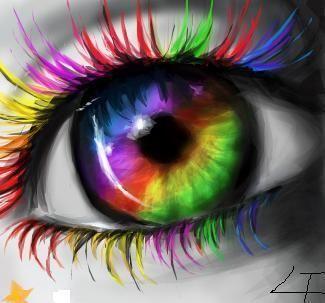 Olho e cílios multicoloridos