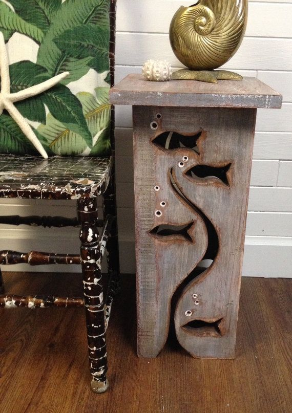 fish art side table driftwood colouring night stand coffee table by castawayshall - Holzbasteln