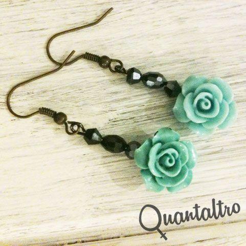 orecchini Rose Verde Acqua / Azzuro