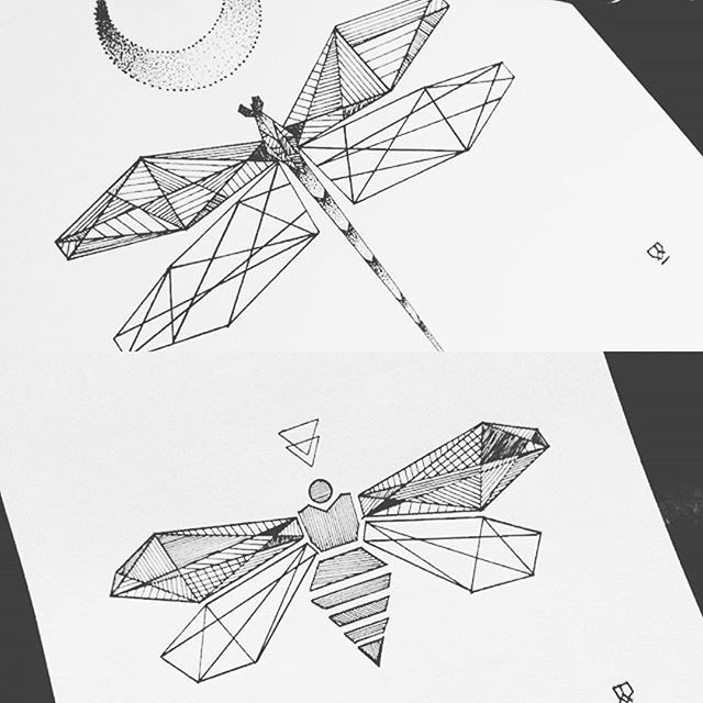 Geometric bee and dragonfly. #illustrator #illustration #design #drawing #sketch…