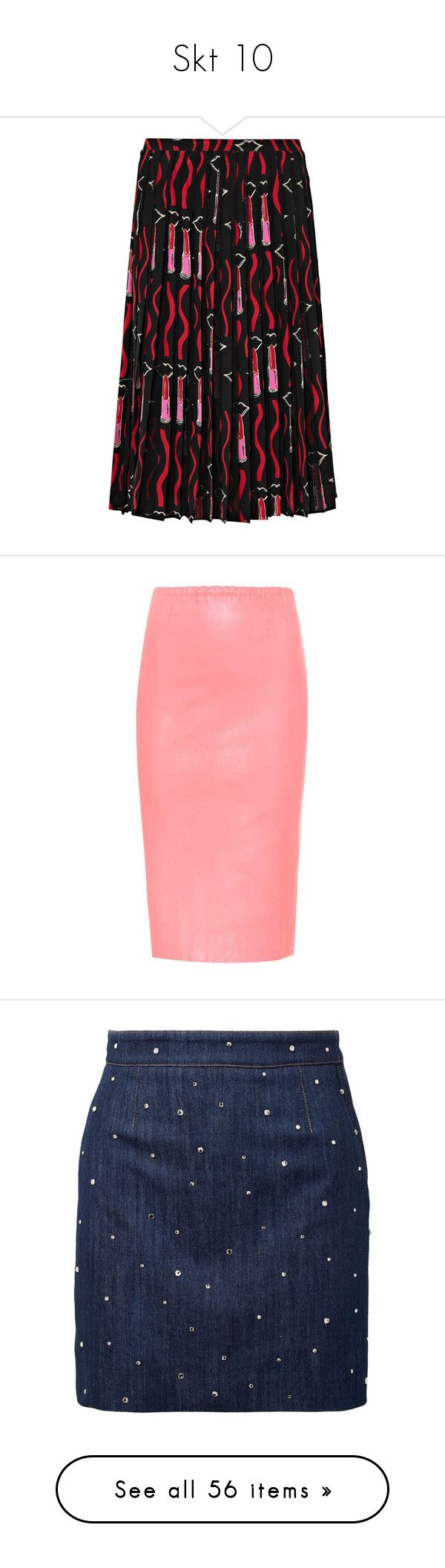 """Skt 10"" by lashanna-bing ❤ liked on Polyvore featuring skirts, black, colorful skirts, pleated skirt, print skirt, multi colored skirt, lace trim skirt, pink, red knee length skirt and pencil skirt"