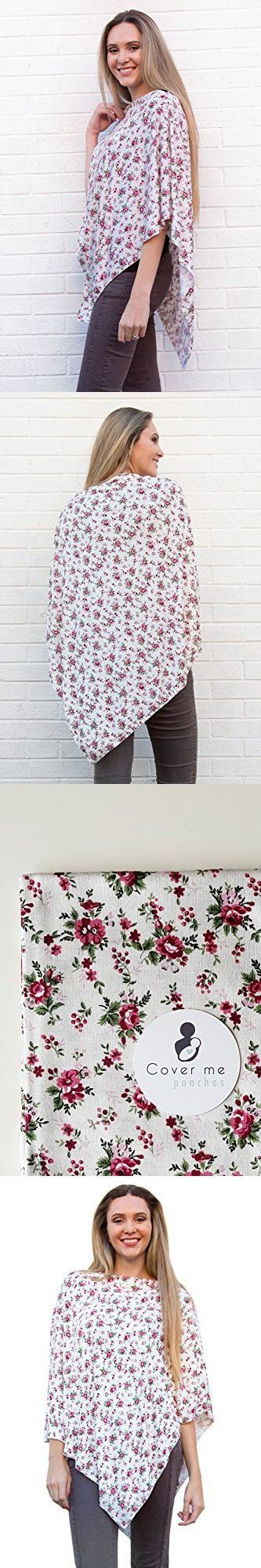 Rose and Cream Nursing Cover Poncho | Floral Nursing Cover | Multi Use - Car Seat Cover, Swaddle, Maternity Top, And Shopping Cart Cover