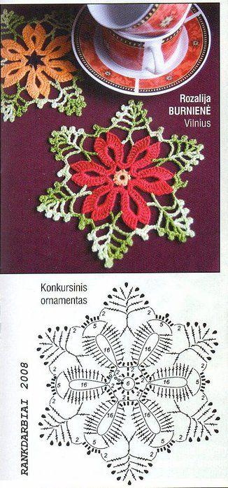 dainty crochet Christmas coaster                                                                                                                                                                                 Mais