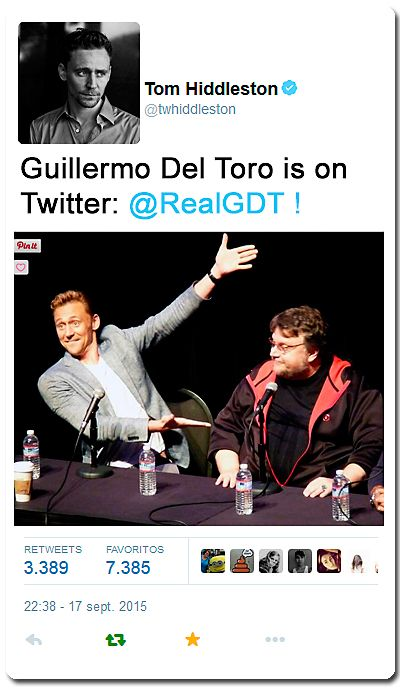 """@twhiddleston: Guillermo Del Toro is on Twitter: @RealGDT !"" https://twitter.com/twhiddleston/status/644611409419063297"