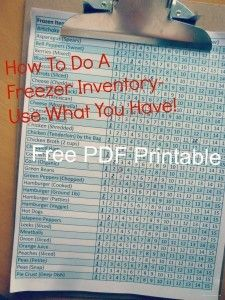 Free PDF- Doing a freezer inventory. Using what you have helps in #mealplanning
