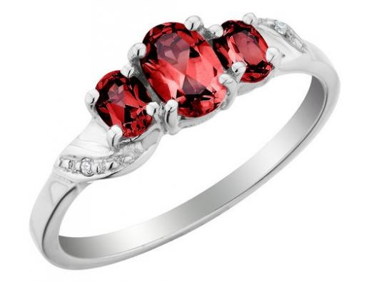 Three Stone Created Ruby Ring with Diamonds 1.17 Carat (ctw) in 10K White Gold