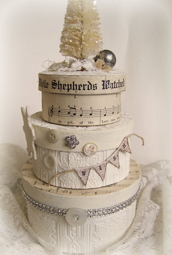 Handmade Winter White Christmas Altered Box Set DIY?  Hat boxes and craft supplies?  Where do I get nice round boxes and inexpensive lace?