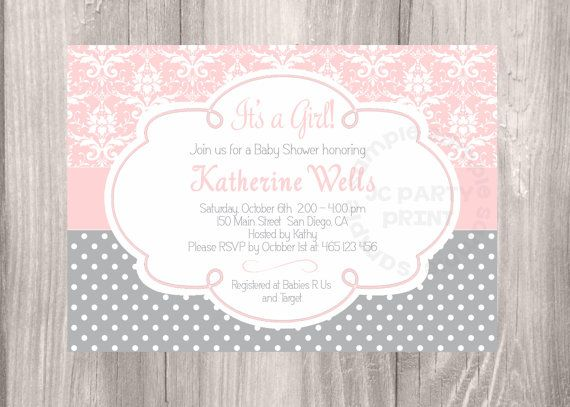 Pink Damask baby shower invitation. Grey and Pink Baby Shower Invitation. Digital file. Pink damask grey polka dots girl baby shower.