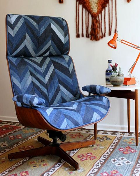 Recycled denim chevron chair. You won't believe the before and after. Get the how-to here: http://craftnikonline.blogspot.com/2011/10/really-big-chair-post.html