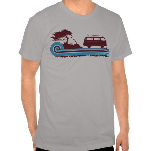 'Longboarder' Retro Surf Tee in Maroon & Aqua