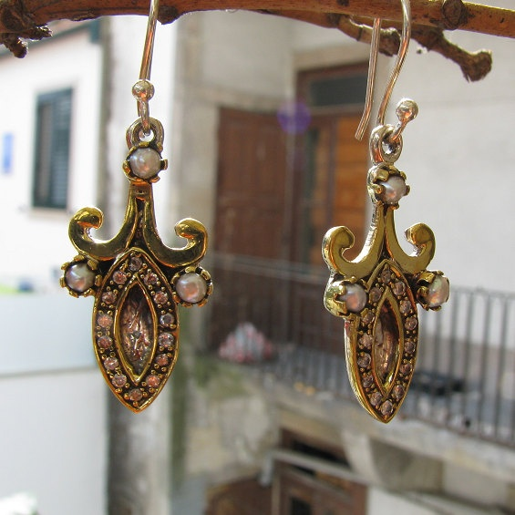 Drop earrings with sterling silver gold plated by BijouxaLaCarte, $29.00 ~ SOLD~