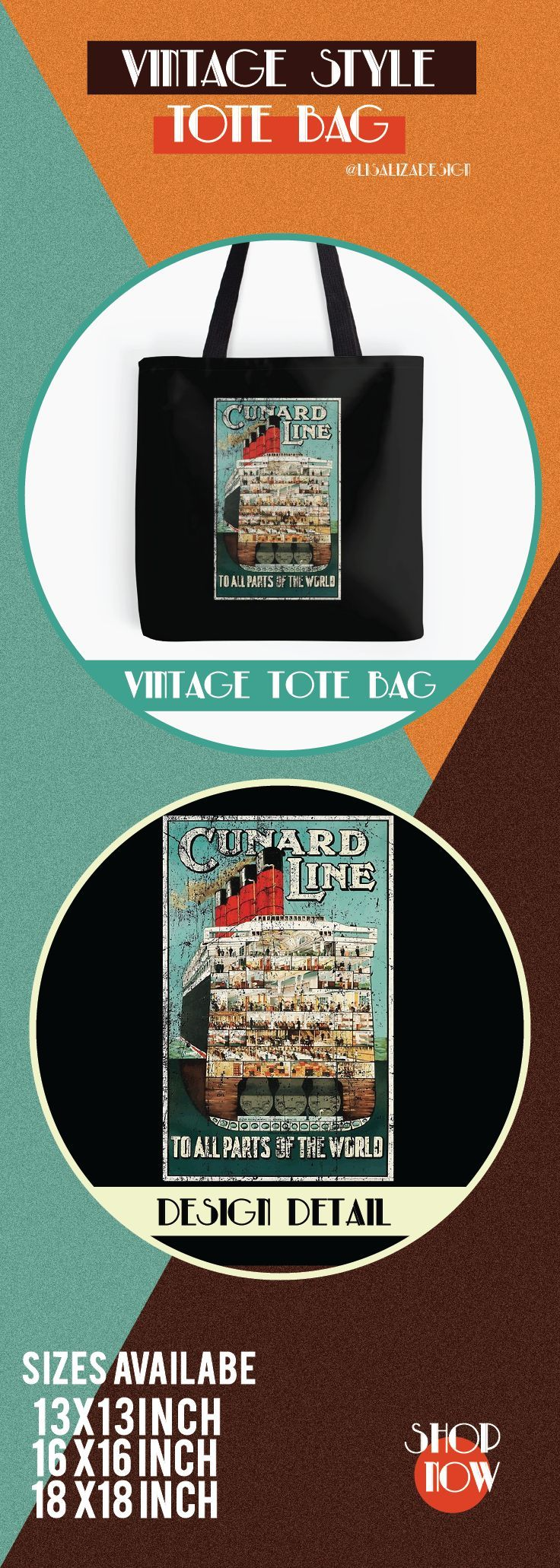 Vintage Travel Poster, Aged and Weathered - Cunard Line.  ToteBags  A collection design inspired by vintage travel and advertisements posters  from the late 19th century printed on durable tote bags. 3 Sizes available.  Excellent gift ideas for vintage lovers and everyone. #vintage #hugs #holidaygift #oldies #homedecor #retro #travelposter #totebag #redbubble #teepublic #lisalizadesign #vintageposter #oldies
