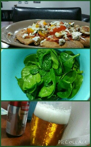 Delicious homemade pizzas, with a simple spinach salad and a nice cold beer   #flatbread #pizza #veggies #spinach #dinner   Just make a simple flatbread, like this vegan naan http://keepinitkind.com/easy-homemade-vegan-yeast-free-flatbread/ . Top with your favourite toppings : tomato, cheese, chicken, veggies. Bake at 425 for 10 - 12 minutes, depending on the size of your pizzas.