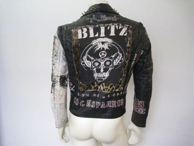 Vintage Studded Painted Patched Punk Black Leather Motorcycle Jacket Size SM/MED | eBay