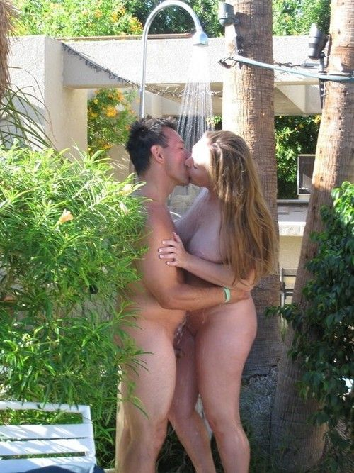 Super nude shower outdoors