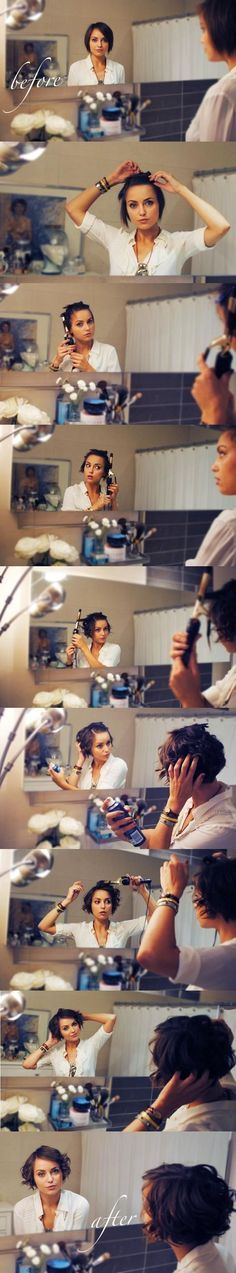 How to curl short hair by Kelly Framel (The Glamourai). Perfect for my hair. Simply love it!