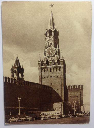 Vintage-Postcard-Russia-Moscow-Kremlin-Spasskaya-Tower-Chiming-clock-1957