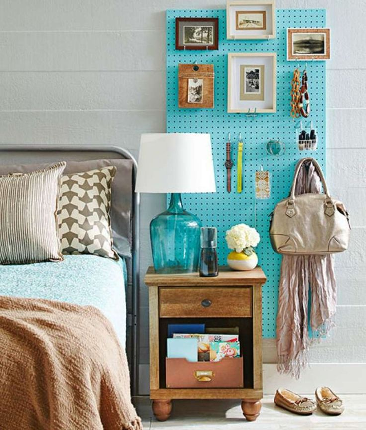 Bedroom With Wall Pegboard Storage : Installing A Pegboard Storage