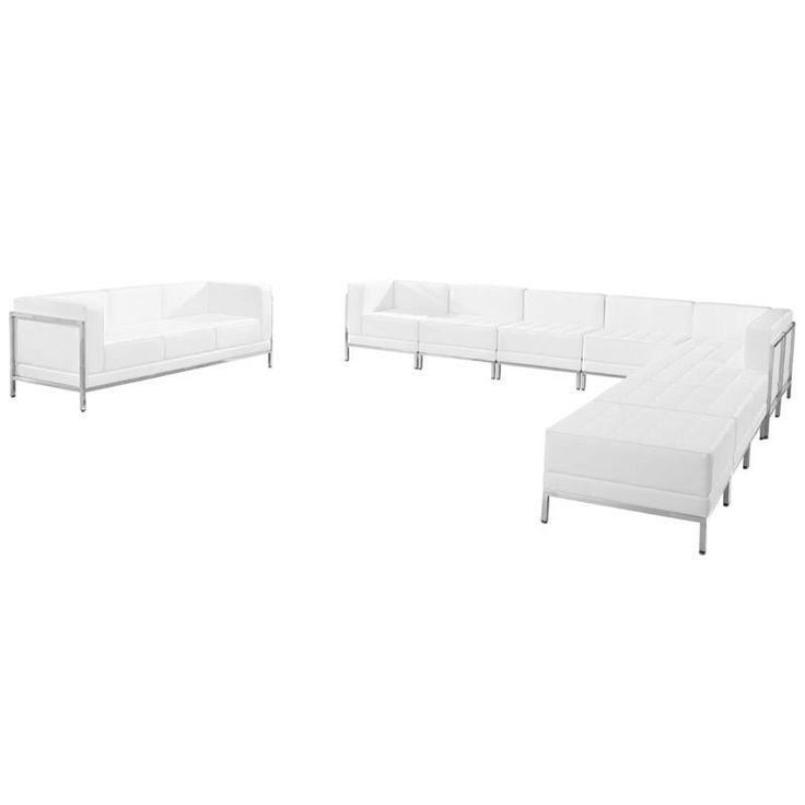 HERCULES Imagination Series White Leather Sectional & Sofa Set, 10 Pieces. Your lobby or reception area is the forefront of your business and providing distinguished and comfortable seating is the first step towards making a great impression. The Imagination Series offers a collection of modular pieces that will allow you to reconfigure the space to accommodate your guests as your business grows. Purchase this complete set and add on any additional pieces now or later. [ZB-IMAG-SET19-WH-GG]…