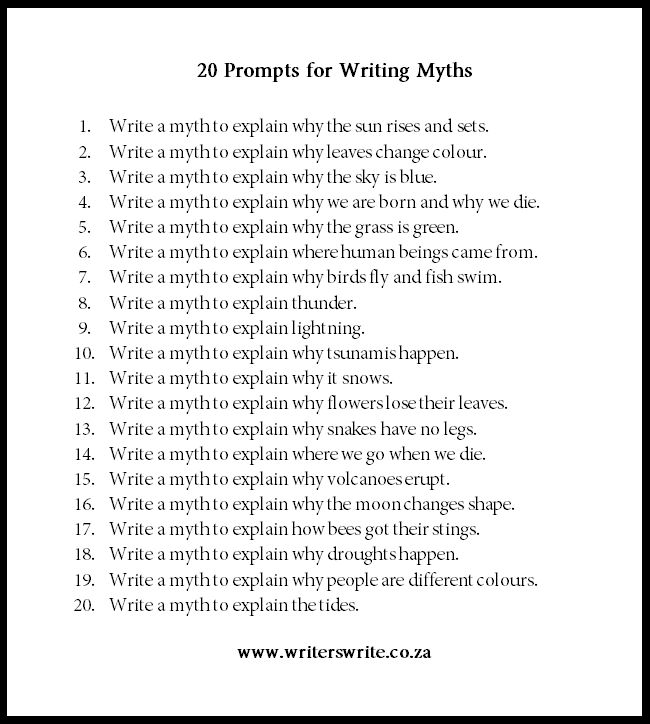 Using Myths for Writing Prompts - Writers Write