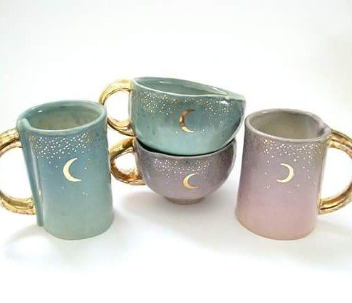 """672 Likes, 43 Comments - Kira Call Ceramics (@kiracallceramics) on Instagram: """"These starry gold moon mugs, 4 moon yunomis (the little cups), 4 moon ring dishes, and 4 moon…"""""""