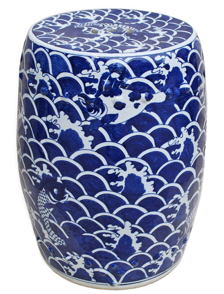 Very Pretty Blue And White Garden Stool With Fish Pattern