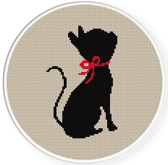 Buy 4 get 1 free,Buy 6 get 2 free,Cross stitch pattern, Cross-Stitch PDF,black cat with a  ribbon ,zxxc0302. $4.50, via Etsy.