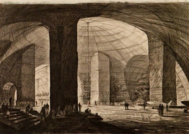 By Hugh Ferriss, preeminent architectural illustrator of the early 20th century, exploring huge air-raid shelters for New York City carved out of the rock cliffs of New Jersey.