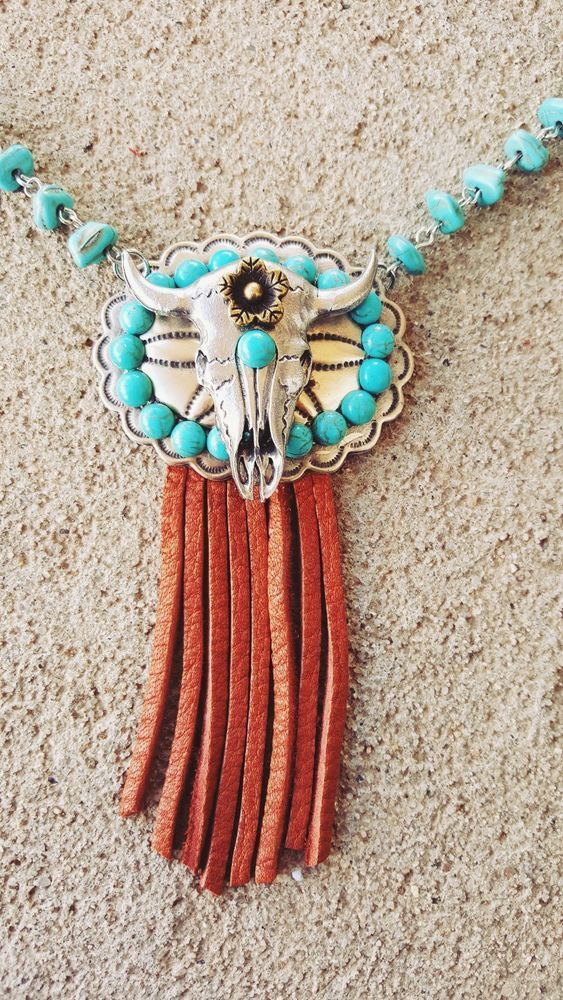 COWGIRL BLING NECKLACE BUFFALO SKULL Fringe Turquoise ARTISAN CRAFTED USA Gypsy #ataggirl #NECKLACE