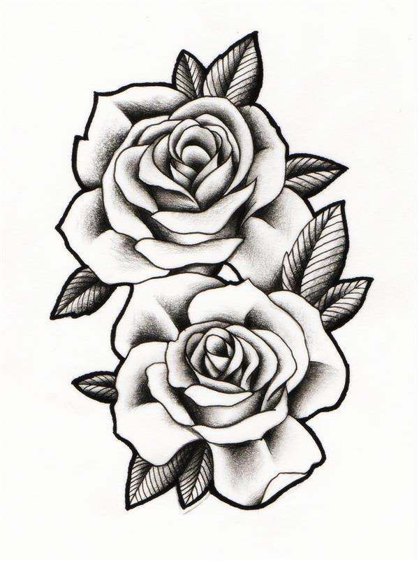 Desenhos De Rosas Para Imprimir Tatoo, Realistas, Pintura -1792