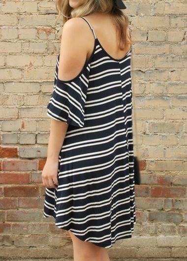 Tirante de espagueti de cuello redondo de la raya del vestido de la impresión :: Fashionerly
