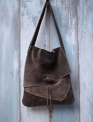 Handmade Leather Satchel Bag Tote Bag Grey Leather Suede Bag Unique Design