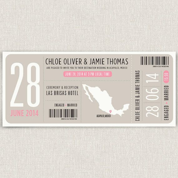Boarding - Modern destination wedding invitation boarding pass design. $4.00, via Etsy.