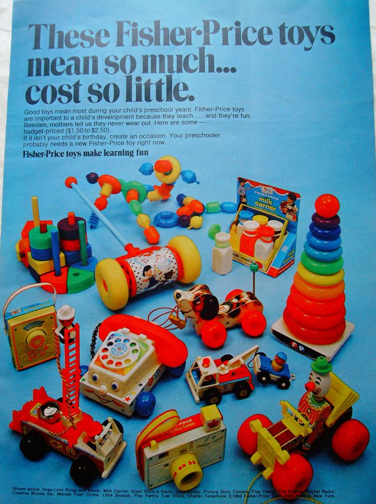 Vintage Fisher Price Toys ad.  This has to be from the 60s.  My mother worked at the factory in East Aurora, NY when I was little so my brother and I had every one of these and more.   Such memories...