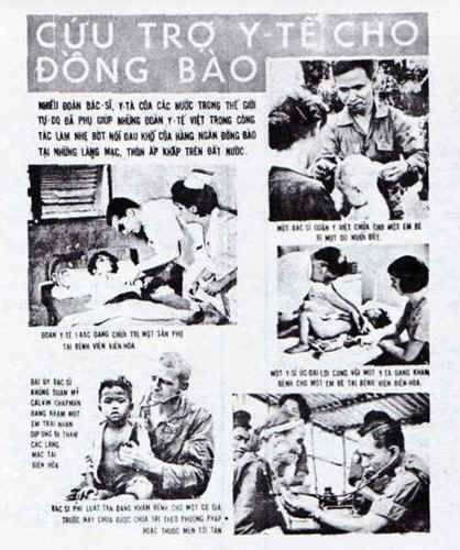 """This 17 x 22-inch poster is entitled """"MEDICAL AID FOR OUR COUNTRYMEN."""" It was placed in the Philippine section, but the five photographs depict medical aid being given by Vietnamese, Australian, Iranian, American and Philippine doctors. The text for the Philippine doctor at the lower right is: """"A Philippine doctor checks an elderly man who has never had modern medicine or treatment before."""""""