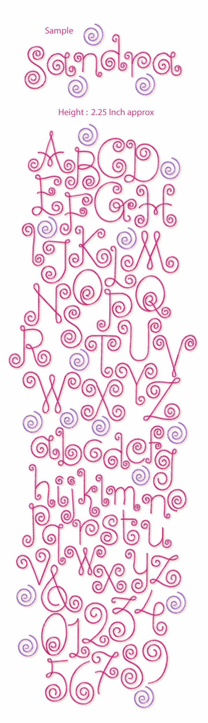 Curlz Font | Free Machine Embroidery Designs