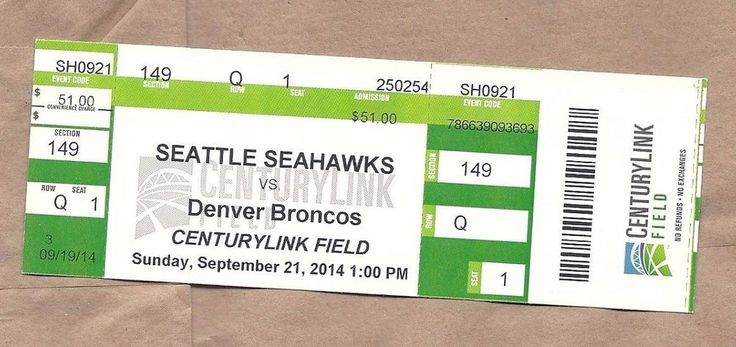 Peyton Manning 499TH Touchdown pass 2014 Denver Broncos  TICKET STUB Seahawks