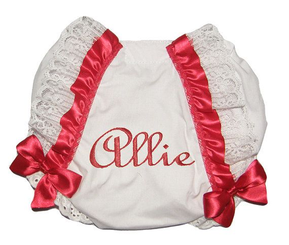 Personalized Baby Girl Diaper Cover, Bloomers Red Ribbon and Lace Trim with Bows Free Shipping on Etsy, $19.95